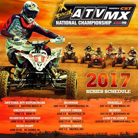 2017 Prox Atv Motocross Race Schedule Announced