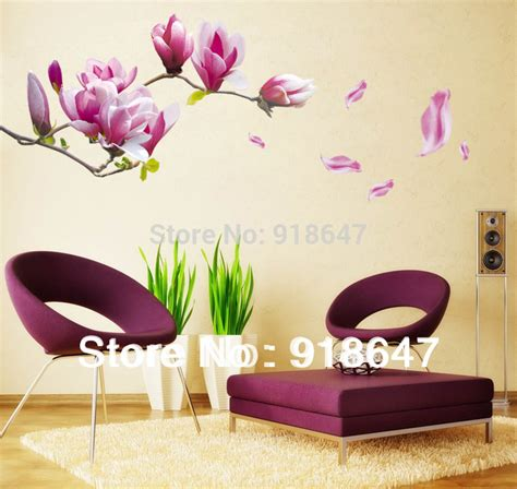 home decor on sale on sale diy big size removable flower home decor wall stickers chaste magnolia purple wall