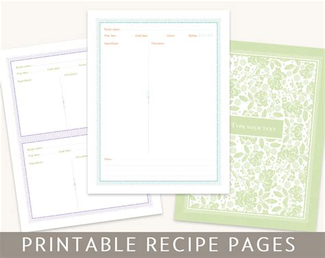 templates for pages recipe binder set printable pages editable pdf instant