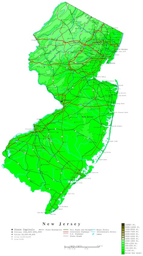 map nj new jersey contour map