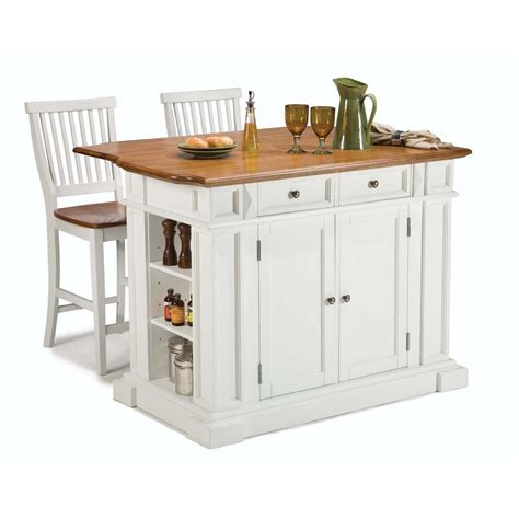 White Kitchen Islands With Seating Home Styles Americana White Kitchen Island With Seating 5002 948 The Home Depot