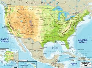 united states physical geography map map of united states and canada physical geography