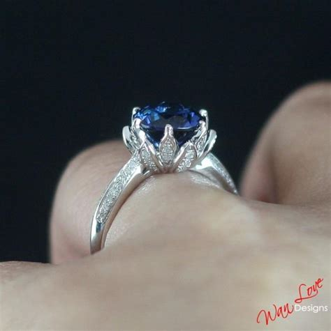 Blue Sapphire 8 2ct lotus flower blue sapphire engagement ring