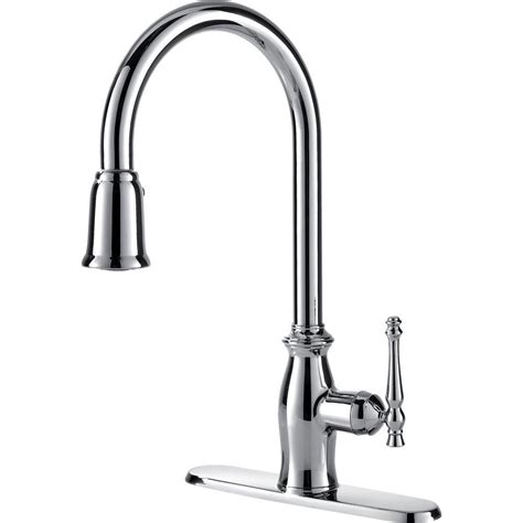 Ultra Faucets Traditional Collection Single Handle Pull Down Sprayer Kitchen Faucet in Chrome
