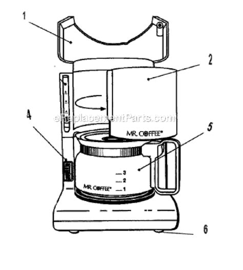 mr coffee parts diagram mr coffee ad5 parts list and diagram ereplacementparts