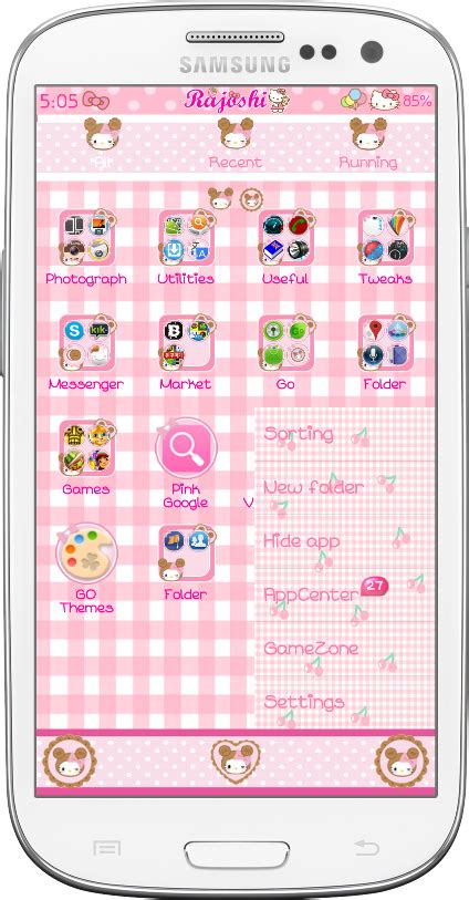 themes for samsung galaxy v hello kitty pretty droid themes kitty biscuit bear go launcher theme