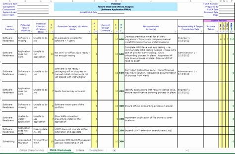 8 Fmea Template Excel Free Exceltemplates Exceltemplates Fmea Template Excel