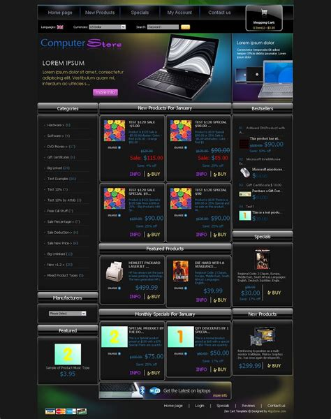 zencart templates zc04a00344 zen cart template for computer stores