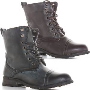 boys black brown lace up ankle boots