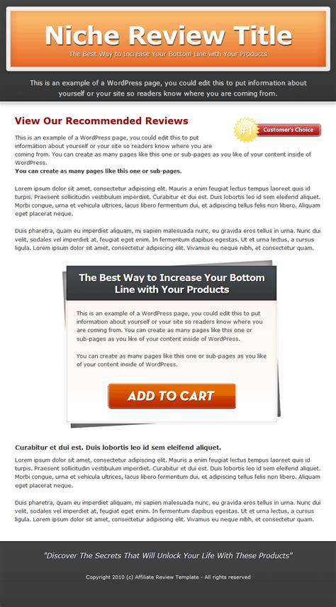 Single Product Review Website Templates Mrr Review Website Template