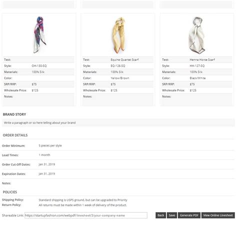 Wholesale Line Sheet Template Startup Fashion Line Sheet Template