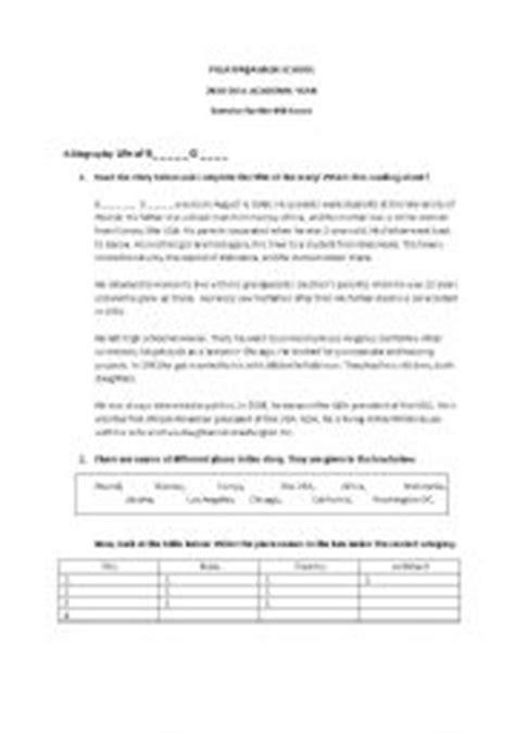 barack obama biography fact sheet english teaching worksheets obama