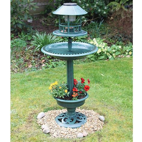 ornamental bird hotel feeder bath with solar light