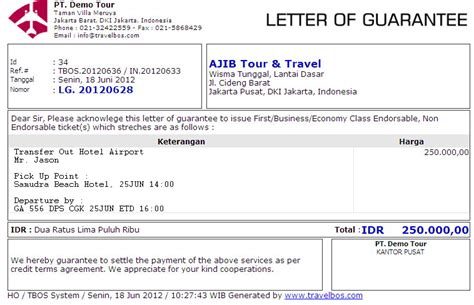 Guarantee Letter To Hotel Travelbos Front Office Aplikasi Travel Program Travel