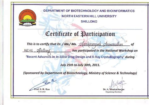 certificate of participation in workshop template bic project nehu