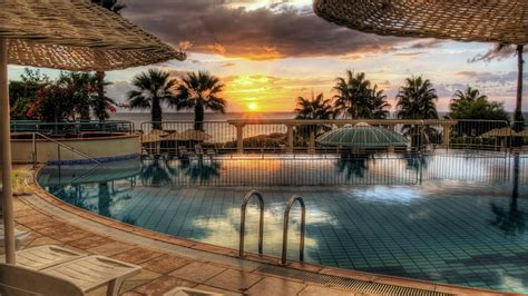 hd wallpaper sunset swimming pool hdr palm trees
