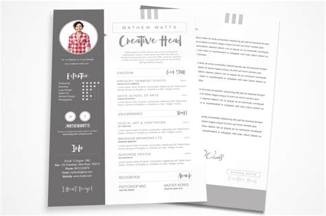 Sharp Clean Resume For Photoshop Resume Templates On Creative Market Free Photoshop Resume Templates