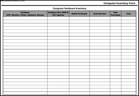 computer hardware inventory form template sle templates