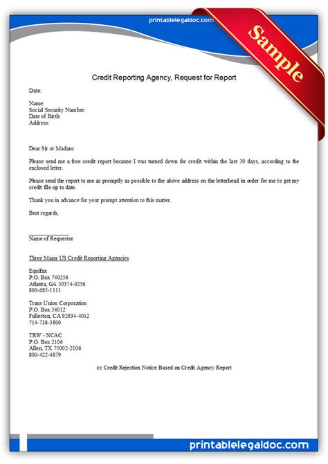 printable credit reporting agency request report