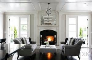 Grey Living Room With White Fireplace To Sofas Transitional Living Room