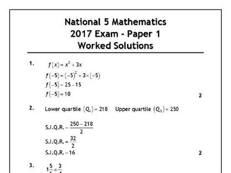 national 5 maths with 1444184407 national 5 maths 2017 exam solutions by mrmcleanmaths teaching resources tes