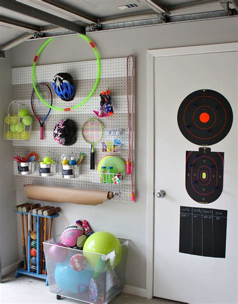 diy garage equipment diy garage pegboard storage for outdoor toys