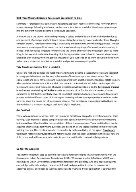 Foreclosure Specialist by Best Three Ways To Become A Foreclosure Specialist By Jeff Kaller Issuu