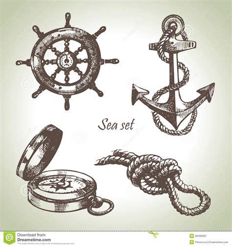 nautical design sea set of nautical design elements royalty free stock