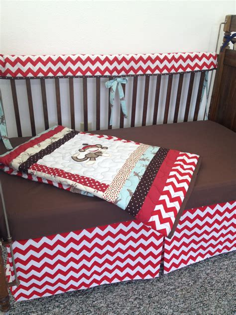 Sock Monkey Crib by Chevron Sock Monkey Crib Set With Quilt Crib By