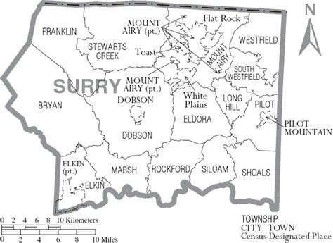file map of surry county carolina with municipal and