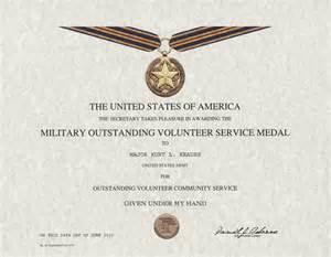 Outstanding volunteer service medal certificate