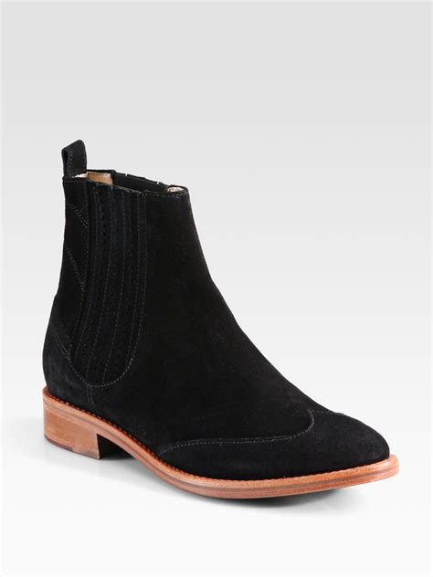 opening ceremony chelsea suede ankle boots in black lyst