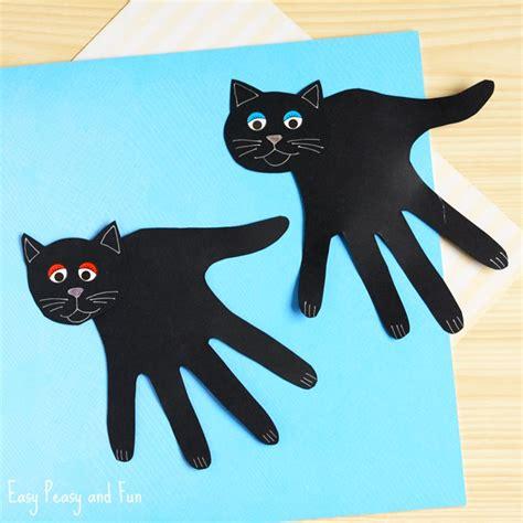 Black Cat Papercraft - handprint black cat craft easy peasy and