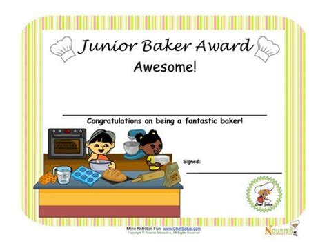 chef certificate template baking with children and kid on