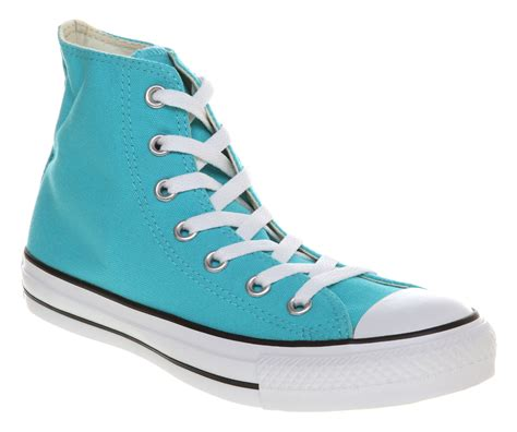 light blue converse converse all star hi light blue trainers