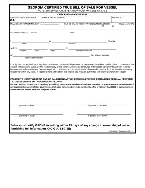ga vessel registration form free georgia vessel bill of sale form pdf eforms