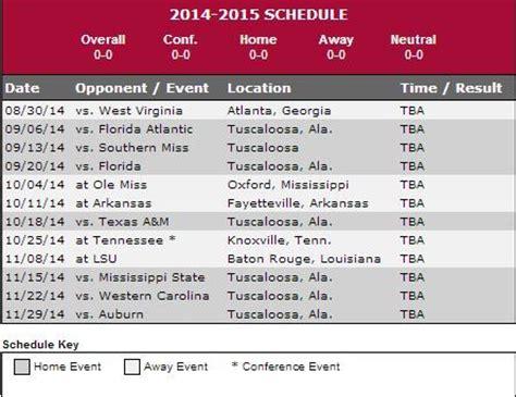 printable schedule for alabama football 2015 alabama football 2014 2015 schedule crimson tide