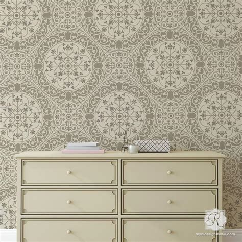tile look wallpaper european damask wall stencils for floors diy tile royal design studio stencils