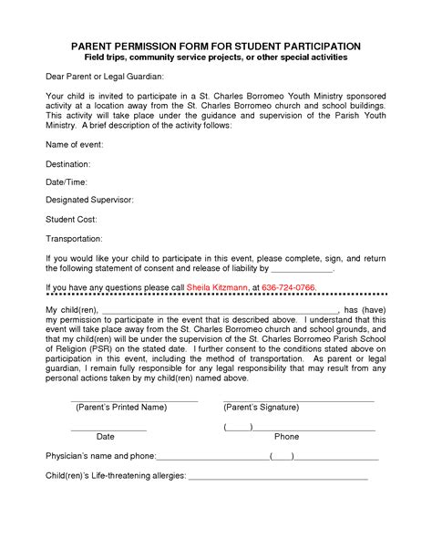 Parent Consent Letter For Study participation form template parent permission form for