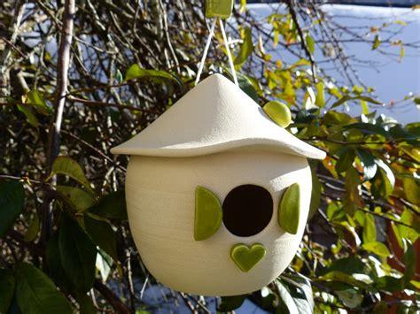 hutte oiseau nichoir ceramique emaillee raku terre cuite pour