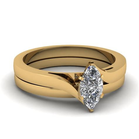 marquise shaped wedding sets in 18k yellow gold