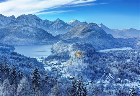 german mountain castle on a mountain in the german alps wallpapers and images wallpapers pictures
