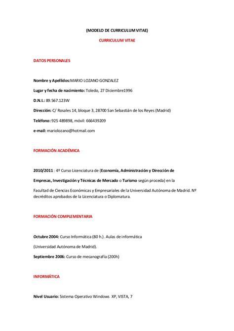 Curriculum Vitae Modelo Expectativas Y Aspiraciones Modelo De Curriculum Vitae