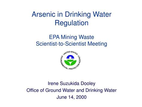 Epa Office Of Water by Ppt Arsenic In Water Regulation Epa Mining