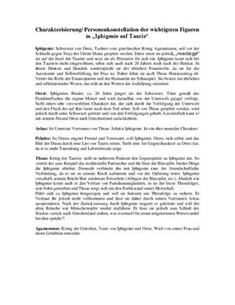 Tagebucheintrag Schreiben Muster Iphigenie Auf Tauris Charakterisierung Schulhilfe De
