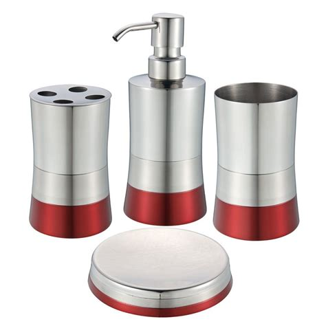 Red Bathroom Accessories Sets For Beautiful Room Decor Bathroom Accessories Sets