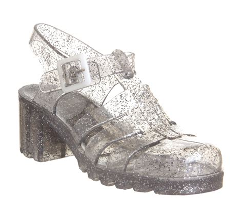 glitter jelly shoes office pickture