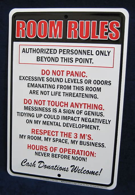 bedroom rules room rules us made embossed metal tin sign teen