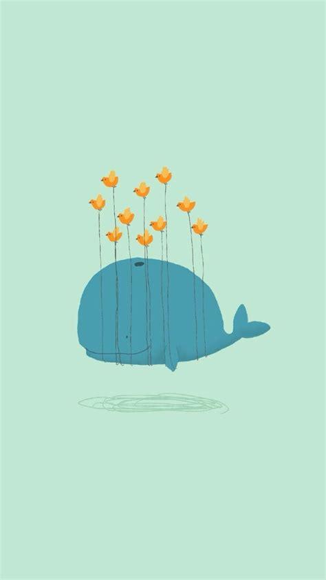 wallpaper cartoon wale cartoon whale and birds illustration wallpaper free
