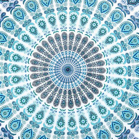 Aqua Coverlet Large Queen White Blue Indian Mandala Elephant Tapestry